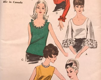 Vintage 1960's Blouse With Gathered Ruffled Trumpet Sleeves and Collar Options---Vogue 6642---Size 14 Bust 34  UNCUT