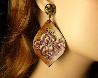 Dangle earrings, trending earrings, jewelry gift, leather jewelry, earrings dangle, brown earrings, gift for mom, dangle, bohemian earrings
