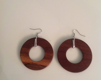 Black Walnut Hoop Earrings