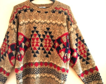 Winter fashion vintage 80s, hand knit, cotton blend , slouchy sweater. Made by Redwood Ross. Size Large.