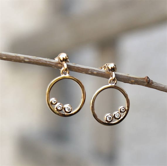 3 Micron 18 ct and cubic zirconia ring gold plated earrings