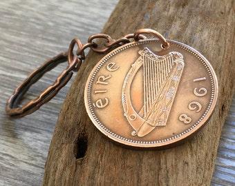 50th birthday gift, 1968 Irish penny keyring, harp, St. Patricks coin keychain, Celtic purse charm, Ireland present for him, her, man woman