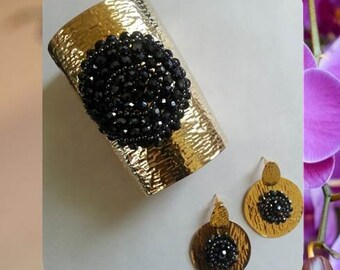 Black Mandala Bracelet with Earrings