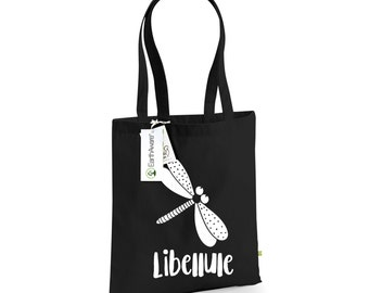 Dragonfly Tote Bag - Libellule -  Bag for Life - 100% Organic Cotton Canvas Tote Shopping Bag, 1002