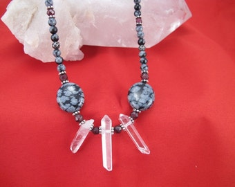 Necklace-Black snowflake obsidian-natural quartz crystal points-garnet accents-pewter clasp-mystic quartz-healing jewelry-steampunk necklace