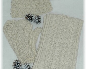 """Scarf, Hat & Mittens combo/set, hand knit with cables and bobbles in pure fine Merino """"Gambier Island"""" - READY TO SHIP"""