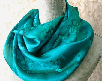 Mother Gift Handpainted Silk Scarf in Shades of Emerald Green