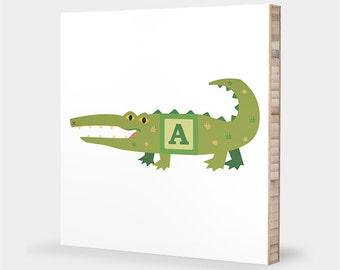 A is for Alligator : ABC Block Bamboo Wall Art Series // Alphabet Kids Wall Art Nursery Room Decor Animal Baby