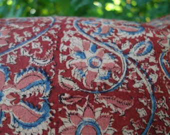 """Block Print Pillow Covers Set Natural Plant Dye Indian Print Indigo Blue Madder Red Pink Floral 2 Vintage Cotton Pillow Covers Lined 18""""x18"""""""