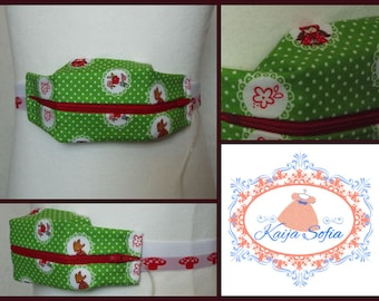 Red Riding Hood insulin pump belt with toadstool elastic. Size 1 (age 2 - approximately age 9).