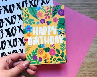 Happy Birthday Card, Sister Birthday, Best Friend Birthday, Happy Birthday Floral Card, Girlfriend Birthday, Floral Card, Illustrated Card