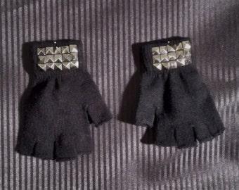 Pyramid Stud Fingerless Gloves - Pair
