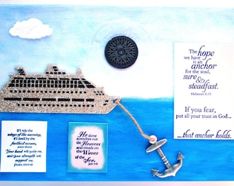 Anchor Art.  The hope we have is an anchor for the soul, sure and steadfast. Hebrews 6.19, Job 9:8, & Psalm 139.9-10.  Boat Verse Handmade
