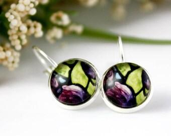 Purple Iris Earrings - Violet Iris Floral Jewelry - Purple Flower Earrings - Silver Earrings, Art Nouveau Art - 12 mm round glass