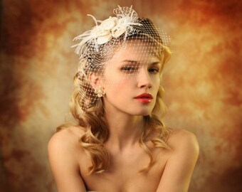 Birdcage veil with flower A14