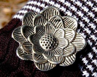 Floral Pendant, Lotus Flower Pendant in Silvertone Metal