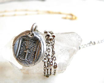 Celebrate Your SPIRITUALITY,  Wax Seal Talisman Jewelry, Cross + Crown, SHOP by MEANING- Symbolic Jewelry- Jewellery - Your Daily Jewels