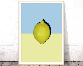 Citrus Wall Art, Kitchen Printable Decor, Lemon Wall Decor, Lemon Print, Modern Kitchen Art, Tropical Fruit Decor, Digital Download Print