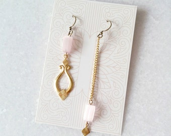 Pink and Gold Mismatched Earrings - Asymmetric Earrings - Pink Quartz Color Earrings Inspired Sonate (SD1215)