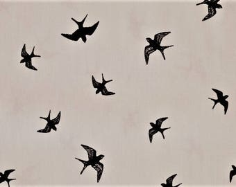 """Printed cotton fabric patterns """"The birds"""" white background sold by half meter"""