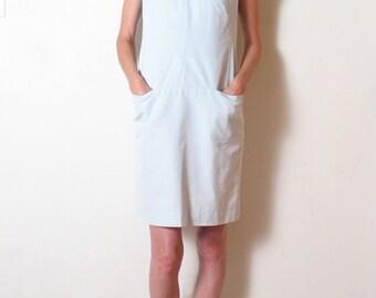 SILK & COTTON minimal ice blue shift dress, xs - s