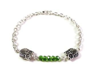 Silver Owl Bracelet, Green Crystal Bracelet, Beaded Bar Bracelet, Metal Bird Bracelet, Silver Chain Bracelet, Women's Beadwork Jewelry