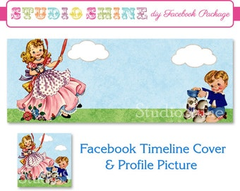 DIY Facebook Cover Package - Facebook Timeline Cover and Profile Picture - Retro Kids - Website or Blog Banner Digital Instant Download