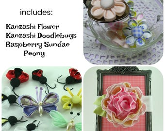 Huge Sale ... Mixed Fabric Flowers Tutorial 4 ... includes 3 tutorials