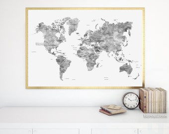 Grayscale world map etsy 36x24 map black and white watercolor world map printable grayscale world map with gumiabroncs Gallery