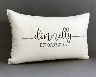 Personalized Name And Established Pillow, Custom Wedding Gift, Cotton Anniversary Gift With Name And Wedding Date, Personalized Home Decor