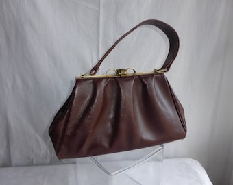 HANDBAG Vintage Leather Brown-Burgundy-years - 50
