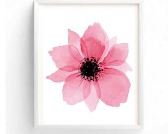 Pink flower painting etsy beautiful pink flower printable digital wall art decor floral art flower painting print mightylinksfo