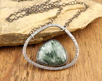 Seraphinite necklace, minimalist necklace, bezel set green stone, sterling silver, choose chain length.