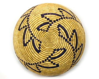 Round Vintage Woven Coil Basket, Natural Materials, Geographic Pattern, Deep Purple and Tan