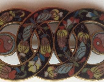 Sale  Vintage Enamel Cloisonne Brooch Large Triple Circle Brass Flowers Yin Yang Butterflies