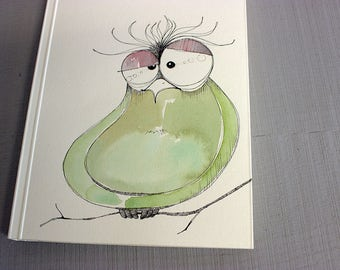 Hand painted owl sketchbook with blank pages, OOAK art journal