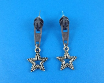 Star Zip Earrings - zipper studs, upcycled zips, Harajuku Decora, recycled repurposed, quirky edgy punk, grey and silver, seamstress jewelry
