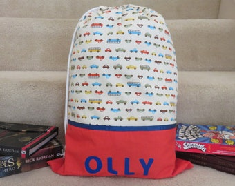 Boys Personalised Library Bag \ Book Bag - Cars Fabric