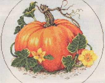 "Needlepoint Handpainted Sandra Gilmore Pumpkin SQUASH Blossoms 9"" -Free US Shipping!!!"