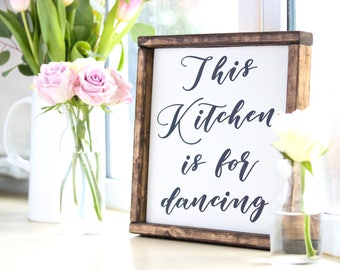 This Kitchen Is For Dancing Mini Handpainted Wood Kitchen Sign