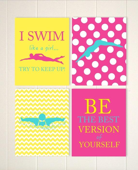 Swimming wall art girl swimmer wall art girls motivational