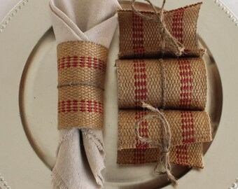 6-Burlap Jute Napkin Rings Red
