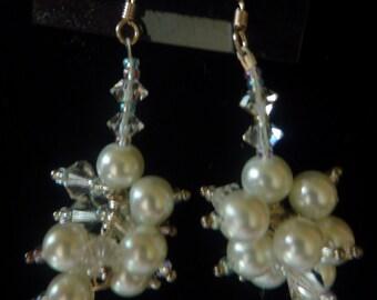 "BEEutiful Swarovski Pearl and Crystal Cluster Wedding Earrings -- ""Princess"""