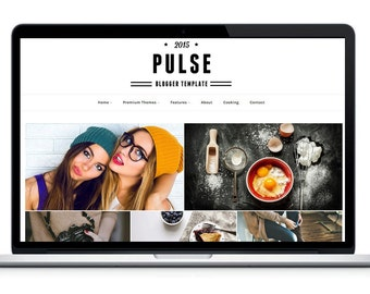 Premade Blogger Template-Pulse Responsive| grid blog theme