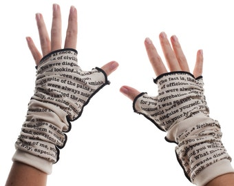 Pride and Prejudice Writing Gloves - Fingerless Gloves, Arm Warmers, Jane Austen, Literary, Book Lover, Books, Reading