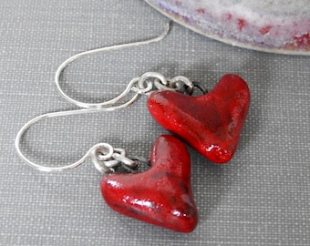 Stoneware Earrings, Silver Earrings, Red Hearts, Red Earrings, Love Hearts, Ceramic Earrings, Dangle Earrings,