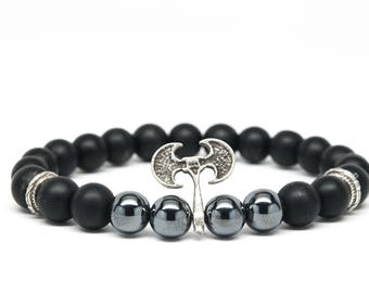 Matt Black Onyx and Hematite Beaded Mens Bracelet with Axe