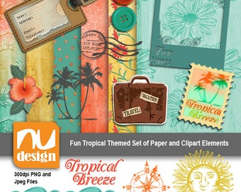 Tropical Themed Digital Scrapbooking Papers and Clipart Set - All 300dpi PNG and Jpegs. Ideal for craft projects.