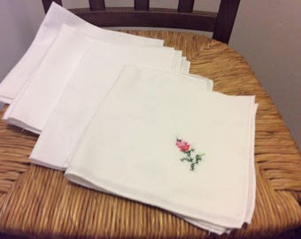 Vintage Cotton Linen Hand Embroidered White Napkins, Set of 8, Shabby Chic Boho Style, Spring Tea Party, Home Decor, French Country