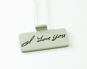 Memorial Jewelry Your Loved Ones Actual Handwriting with Bail and Chain